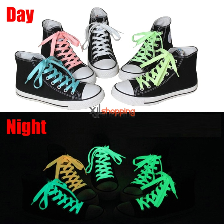 1 Pair Luminous shoelace luminescent shoelace fluorescent color flat laces canvas shoes shoelace leisure