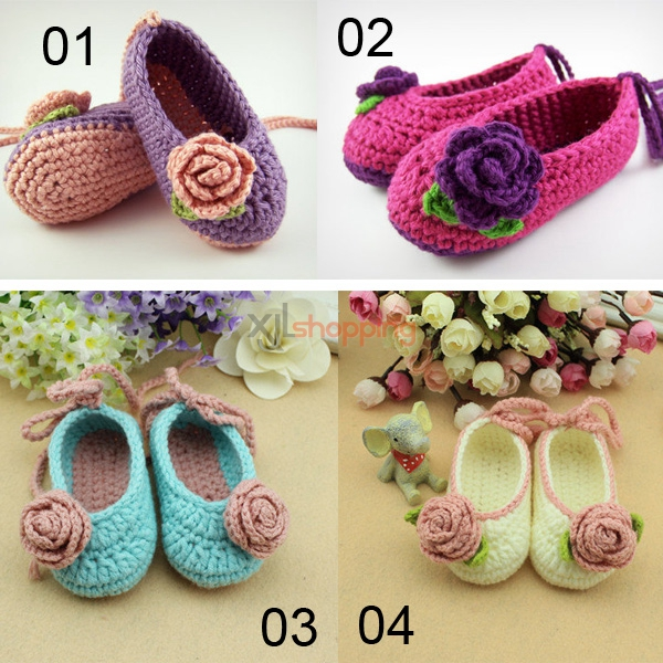 Hand-knitted baby shoes、Newborn soft-soled shoes
