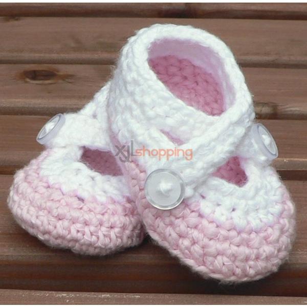 35%off M white high Bangdai buttons, handmade wool crochet shoes