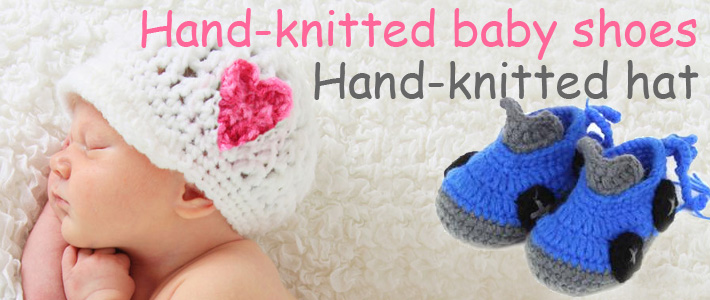 Hand-knit baby shoes and hat