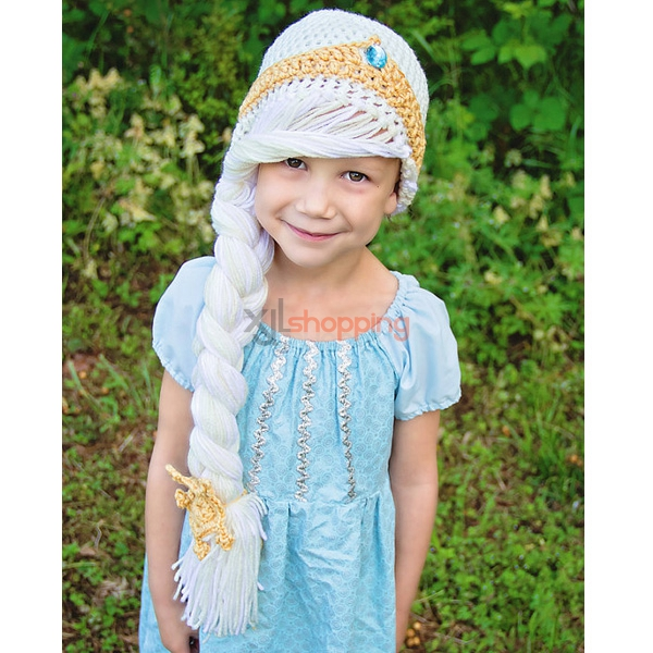 Hand-knitted hat long braids Edsa princess hat