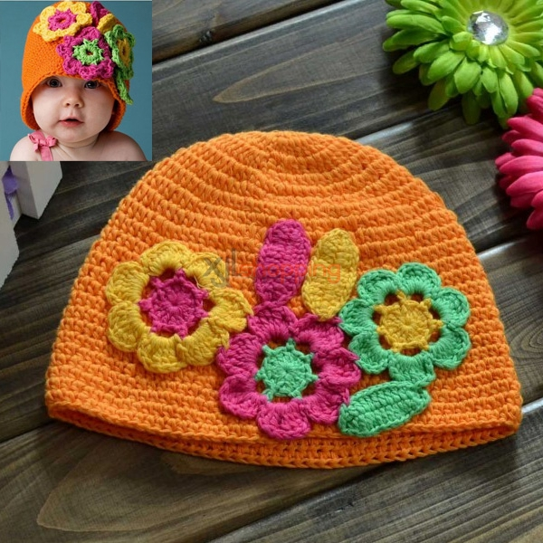 Hand-knitted hat three large flower orange flower hat