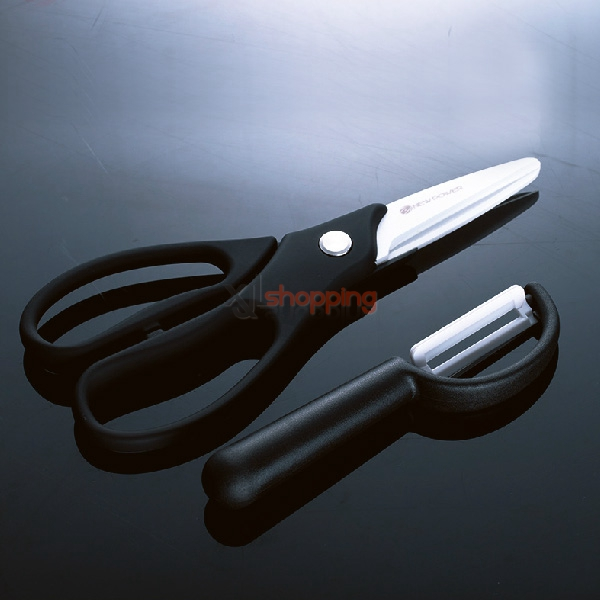 2 Set scissors + paring knife Newpower nano-pure zirconium knife