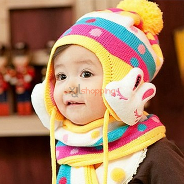 Children's warm hat rabbit hat scarf piece