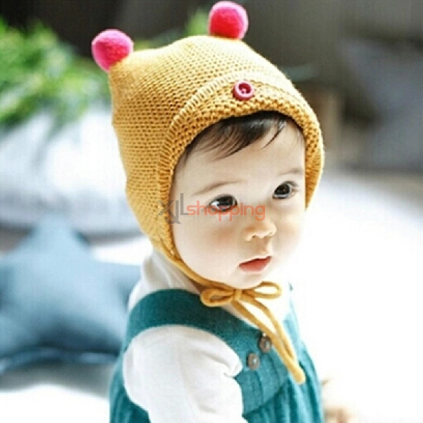 Double ball lacing elves children's ear cap Wool cap