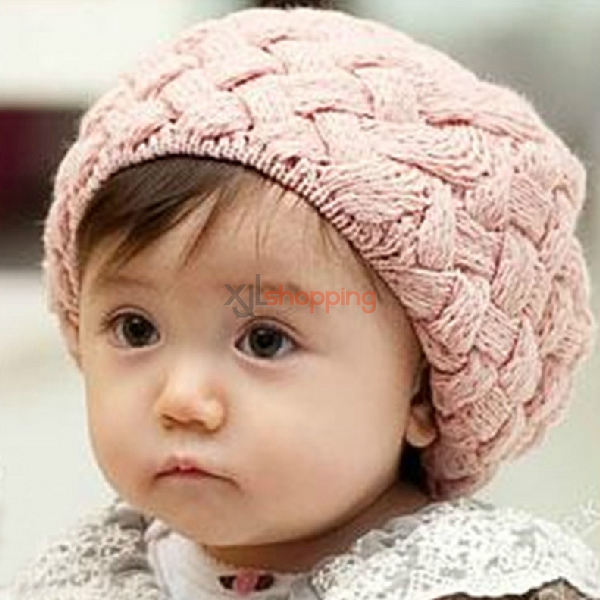 Children's Rabbit fur ball Beret ice cream cap