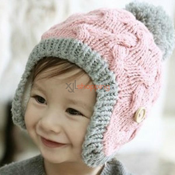 Children's wooden buckle ear cap Wool hat