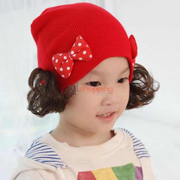 Double bows +wigs knitted children's hats