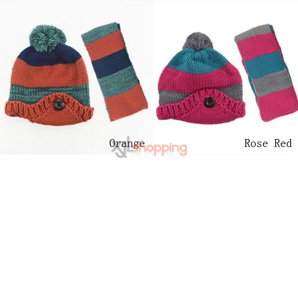 Children's yarn hat knitted flanging + scarf