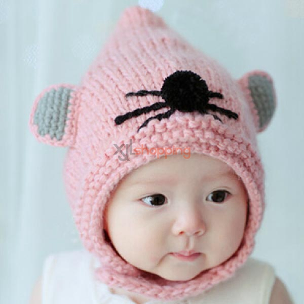 Children little mouse wool cap