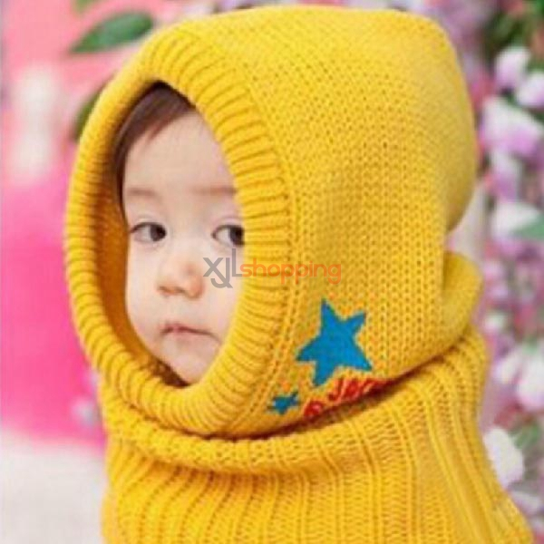 Children's knitted hat Printing Pentagram Siamese cap