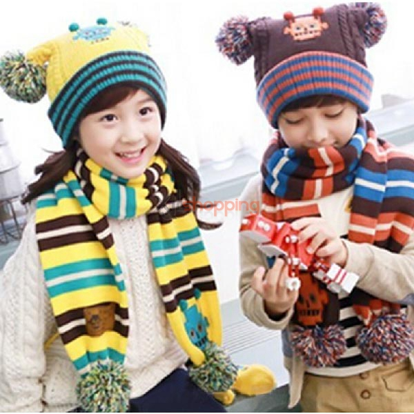 Double ball scarf hat cap sleeve