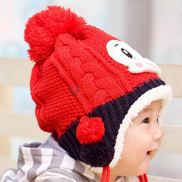 playful baby warm plus velvet monkey ear cap