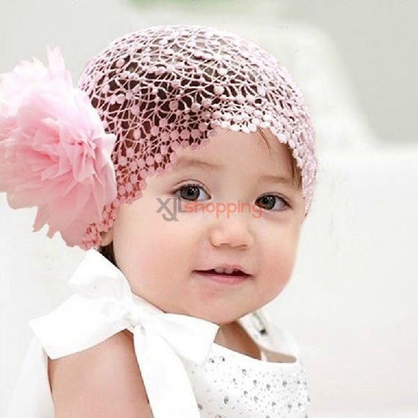 Princess style baby headband + lace large flowers