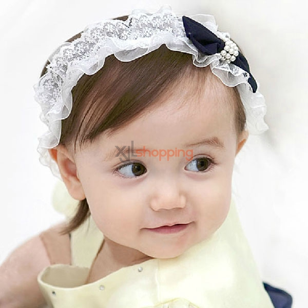 Pearl lace bow headband for children