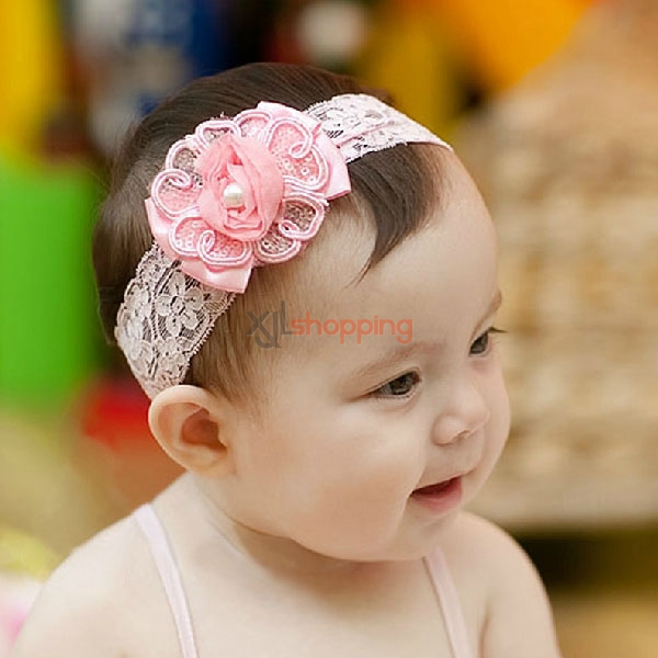 Infant pearl flowers headband