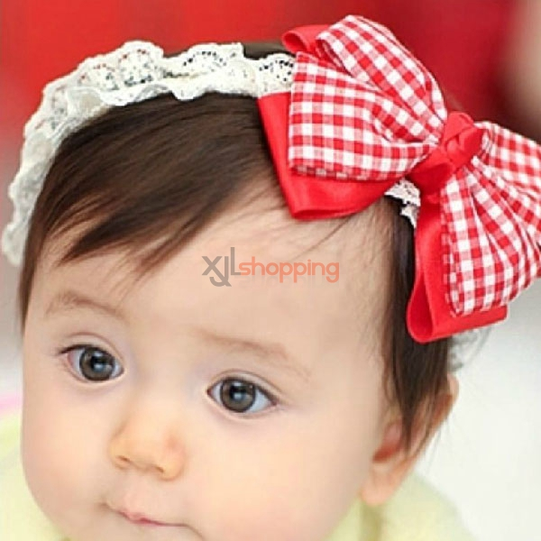 Children plaid bows headband