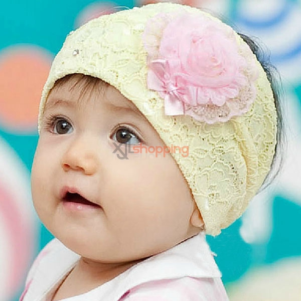 Children's right yarn flower bow hair band