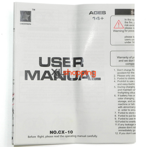 CX-10 english manumal book CX-10 quadcopter spare parts