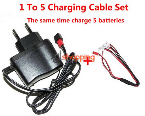 V966 1 to 5 wall charger + charging plug lines 9128 plug WL Wltoys V966 helicopter spare parts