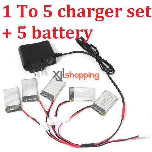 X5C 1 To 5 charger set + 5 battery SYMA X5C quadcopter spare parts