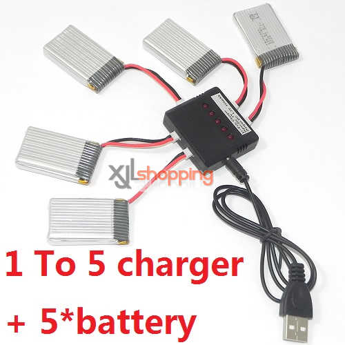 X5C 1 To 5 charger set + 5*battery For SYMA X5C quadcopter spare parts