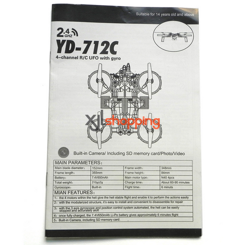 YD-712C english manual book Attop toys YD-712C AT-788 quadcopter avatar aircraft spare parts