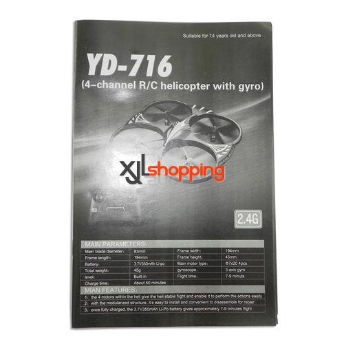 YD-716 english manual book Attop toys YD-716 UFO Quadcopter spare parts