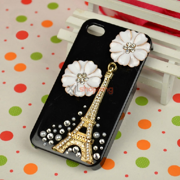 Mobile phone shell deco: Paste diamond Flower iron tower version material package