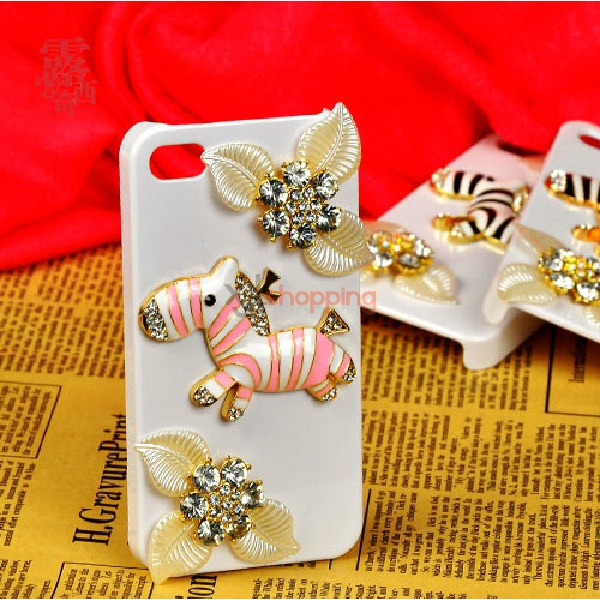 Mobile phone shell deco: Pearl leaves diamond flower zebra material package