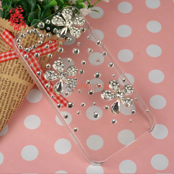 Mobile phone shell deco: Alloy rhinestone butterfly flower material package