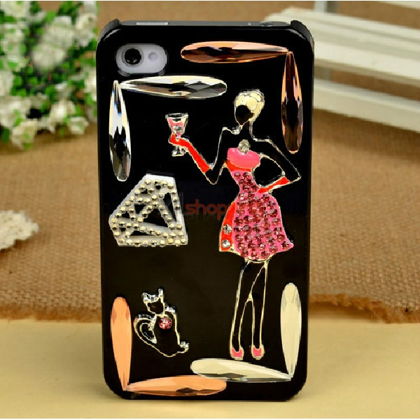 Mobile phone shell deco: Small pink skirt Girls black cat material package