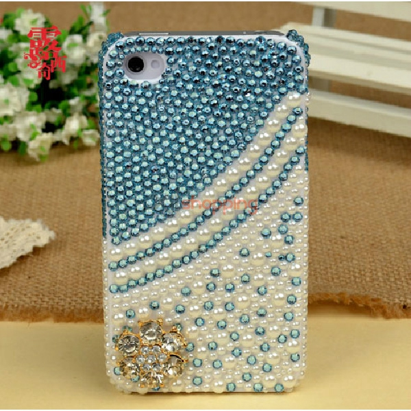 Mobile phone shell deco: Gold plum blossom Pearl Rhinestone material package