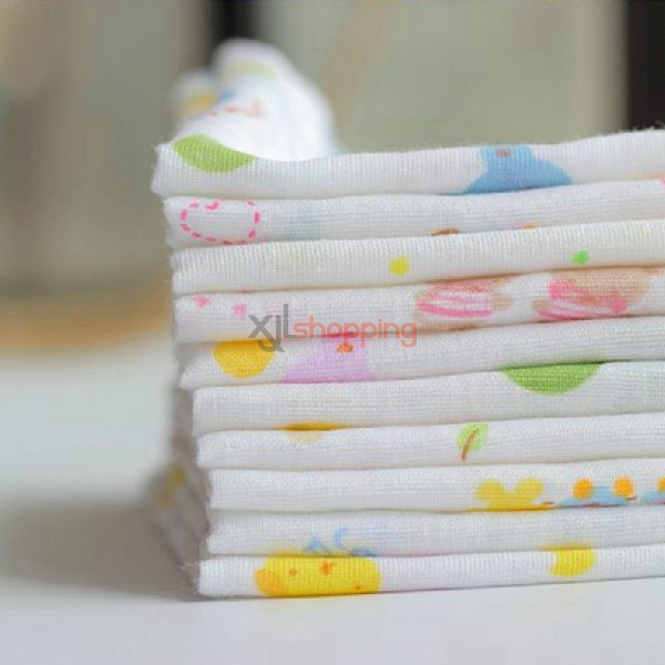 [10pcs]Children's double layer printing pure cotton gauze handkerchief
