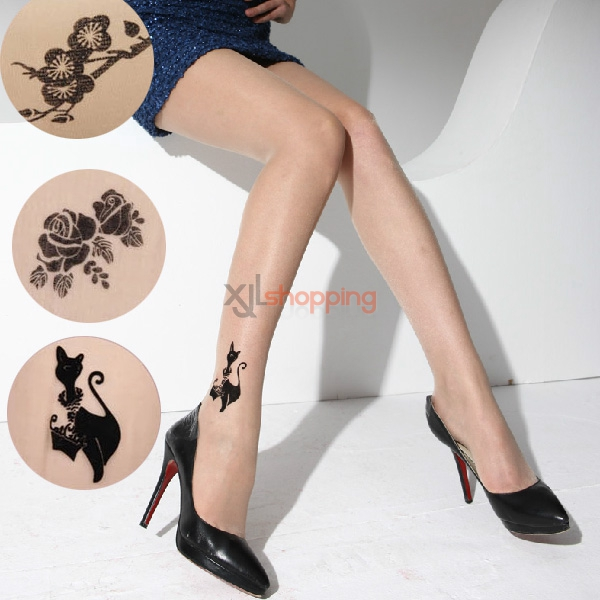 [5pcs]Ms. ultrathin (high-tech set with diamonds, jacquard, tattoos pantyhose) fake tattoo stockings