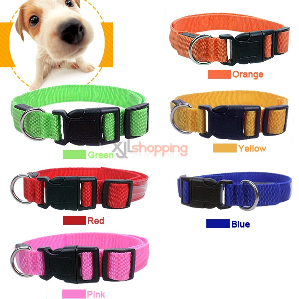Super bright LED light pet collars, dogs and cats luminous reflective collars