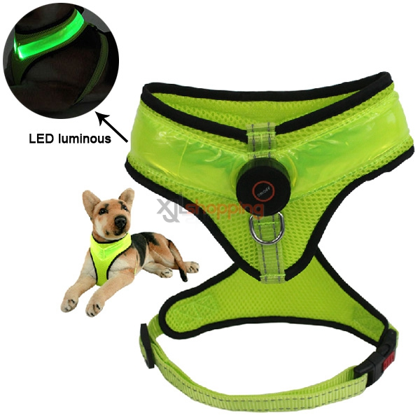 Super bright LED light pet collars, anti fluorescent luminous golden collar Teddy pet dog collar harness belt