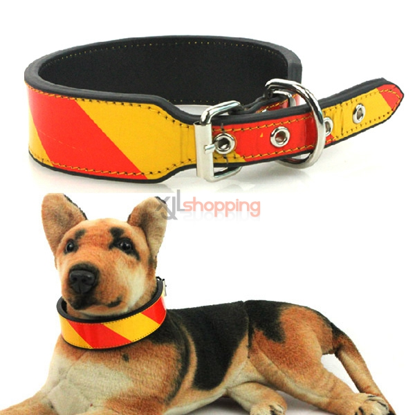 Reflective pet collar, big dog collar glowing, gold Samoyed husky large dog pet collar[M 55cm]