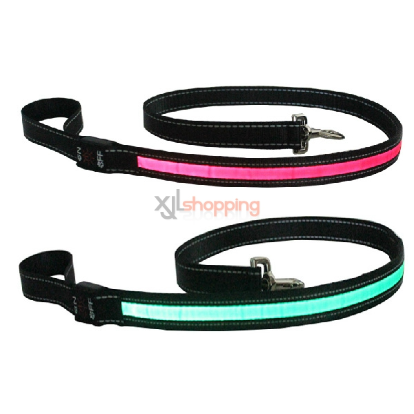 LED light pet traction belt, anti-luminous Small Medium Large Breed dog traction rope drawstring collars[120 * 2.5cm]