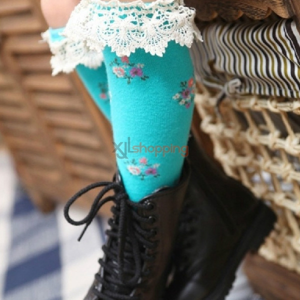 Children's pure cotton lace socks high Brief