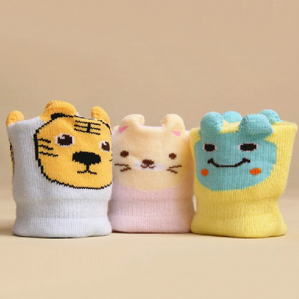 Three pairs of fitted cartoon cotton baby socks(1set:3pcs)