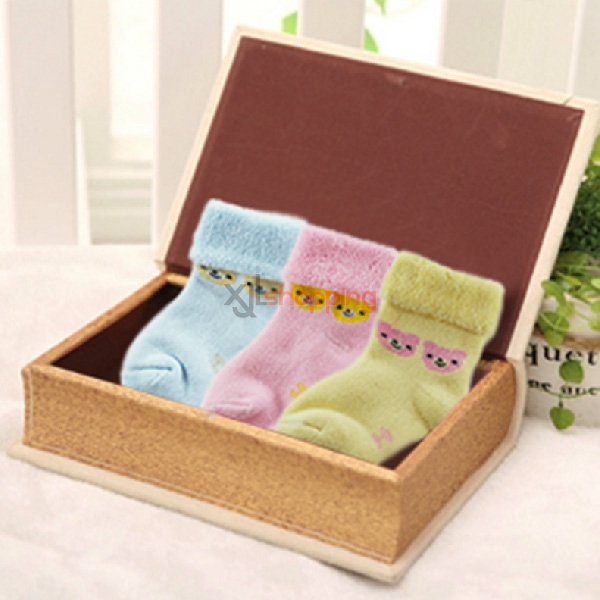 three pairs of baby socks skid fitted cotton terry(1set:3pcs)