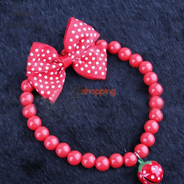 red strawberry pet cats and dogs collars necklace(pink and emerald green random)【3pcs】
