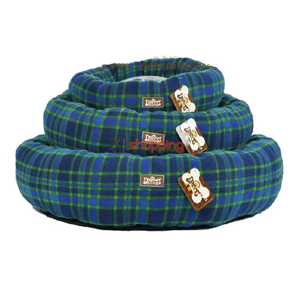 plaid printing velvet round kennel / cat litter